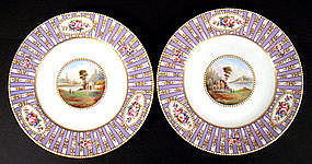 Lovely Pair of Crown Staffordshire Cabinet Plates