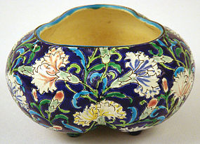 Unusual French Longwy Faience Bowl