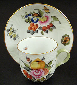 Charming Herend �Fruits & Flowers� Demitasse Cup & Sauc