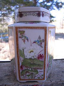 Porcelain Hummingbird Jar