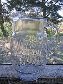 Vintage Glass Swirl Pitcher