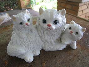 White Persian Cat Family Figurine