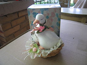 Duck in Woven Basket Figurine