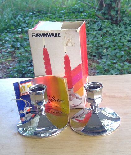 Irvingware Chrome Candle Holders