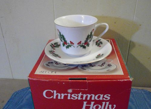 Japan Fine Porcelain Christmas Holly Cup and Saucer