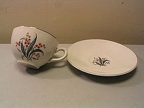 Wedgwood Black & Red Floral Cup & Saucer
