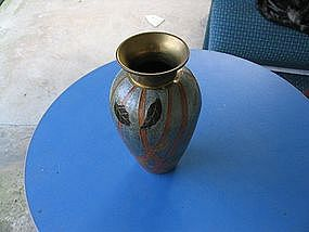Enameled Brass Vase