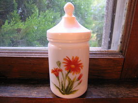 Milk Glass Vanity Jar
