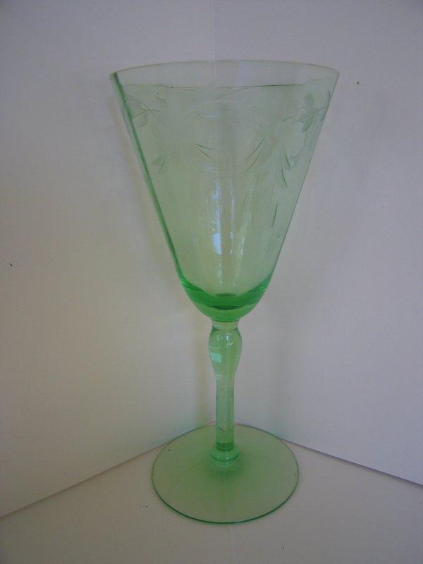 Green Depression Glass Goblet