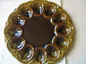 Canonsburg Brown Drip Egg Plate