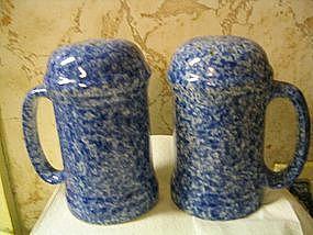 Blue Spongeware Salt & Pepper Shakers