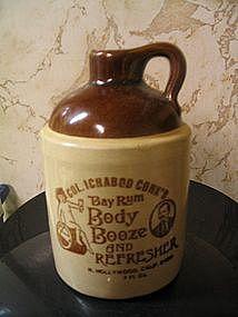 Col. Ichabod Conk's Bay Rum Pottery Jug