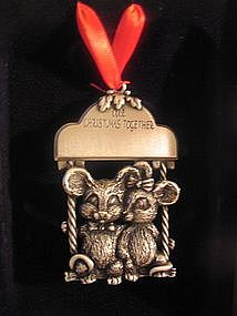 Pewter Mice Christmas Ornament