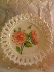 Milk Glass Camellia Plate