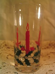 Holly and Candle Glass
