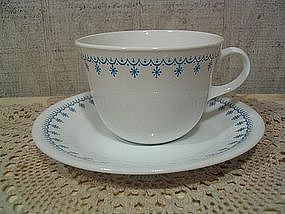 Corelle Snowflake Blue Cup and Saucer