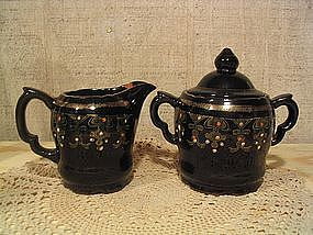 Redware Sugar and Creamer
