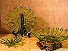 Three Tier Green Glass Tray