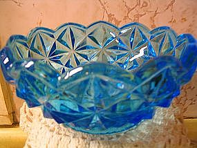 Blue Cut Glass Bowl
