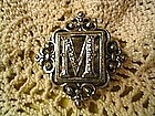 Marcasite Letter M Pin