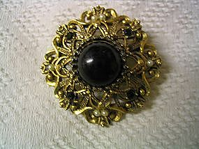 Faux Onyx Brooch
