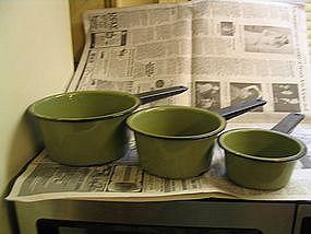 Green Enamelware Pans