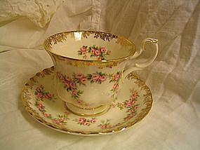 Royal Albert Dimity Rose Cup and Saucer