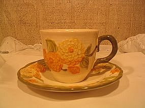 Metlox Sculptured Zinnia Cup and Saucer