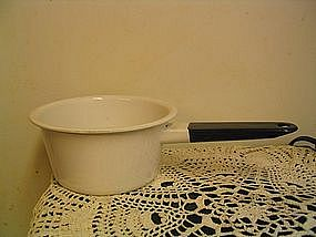 White Enamelware Pan