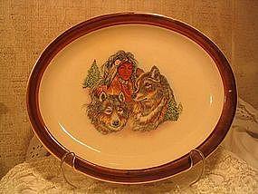 Homer Laughlin Native American & Wolf Plate