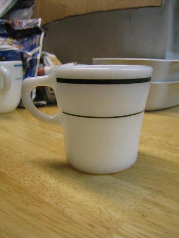 Pyrex Tableworks Green Band Mug