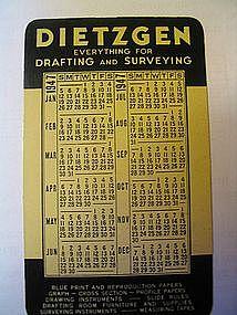 Dietzgen 1947 Calendar Card
