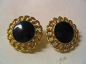 Monet Black Earrings
