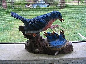 Mother and Babies Blue Bird Figurine