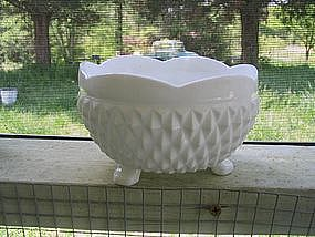 Milk Glass  Diamond Point  Bowl
