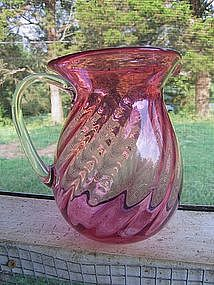 Blown Glass Cranberry Pitcher