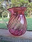Blown Glass Cranberry Pitcher