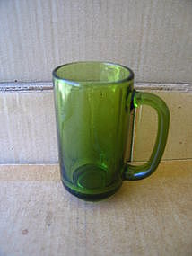 Vintage Green Glass Stein