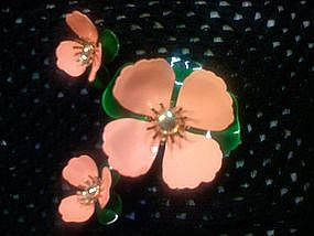 Sarah Coventry Tahitian Flower Pin and Earrings