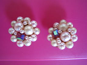 Vintage Pink Pearl Earrings
