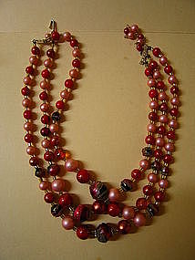 Pink and Red Bead Necklace