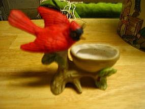 Red Bird and Nest Figurine