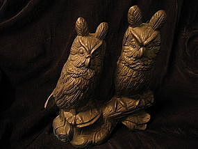 Brass Horned Owls