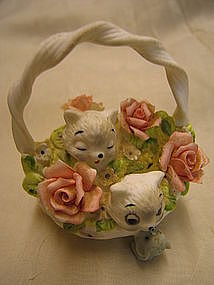 Georgian China Kittens Basket