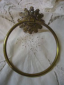 Brass Flower Towel Ring