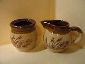 Wheat Pottery Creamer and Sugar