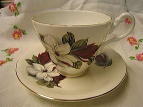 Aynsley  Red and White Flowers Cup and Saucer