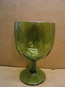 Vintage Green Thumbprint Goblet