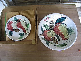 Royal Sealy Ironstone Fruit  Bowl and Plates