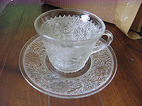 Anchor Hocking Sandwich Glass Cup and Saucer